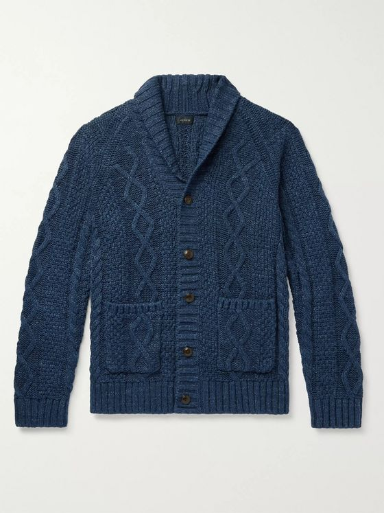 J.Crew Slim-Fit Shawl-Collar Mélange Cable-Knit Cotton Cardigan