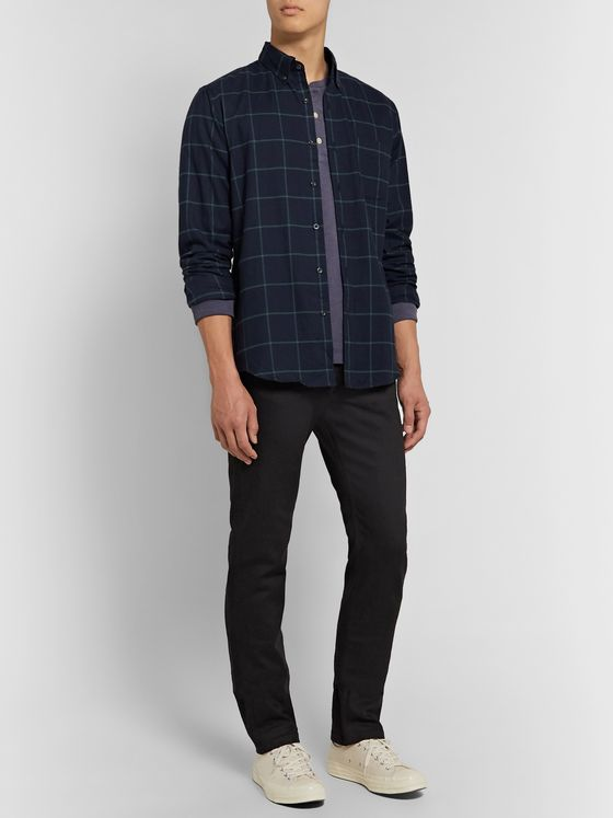 J.Crew Slim-Fit Button-Down Collar Checked Cotton-Flannel Shirt