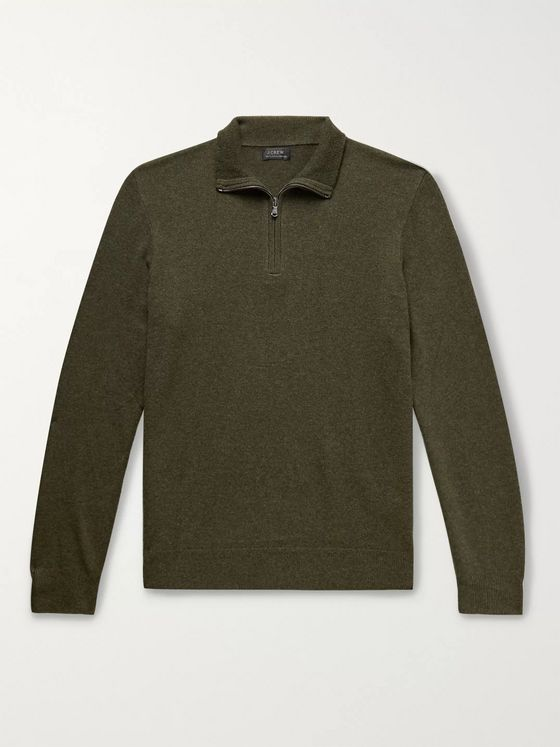 J.Crew Everyday Mélange Cashmere Half-Zip Sweater