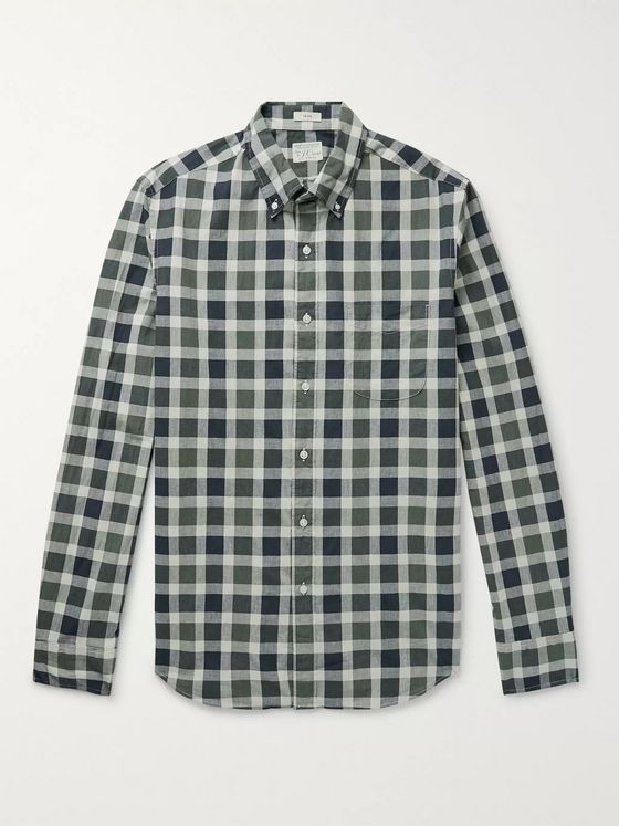 J.Crew Secret Wash Button-Down Collar Gingham Stretch-Organic Cotton Shirt