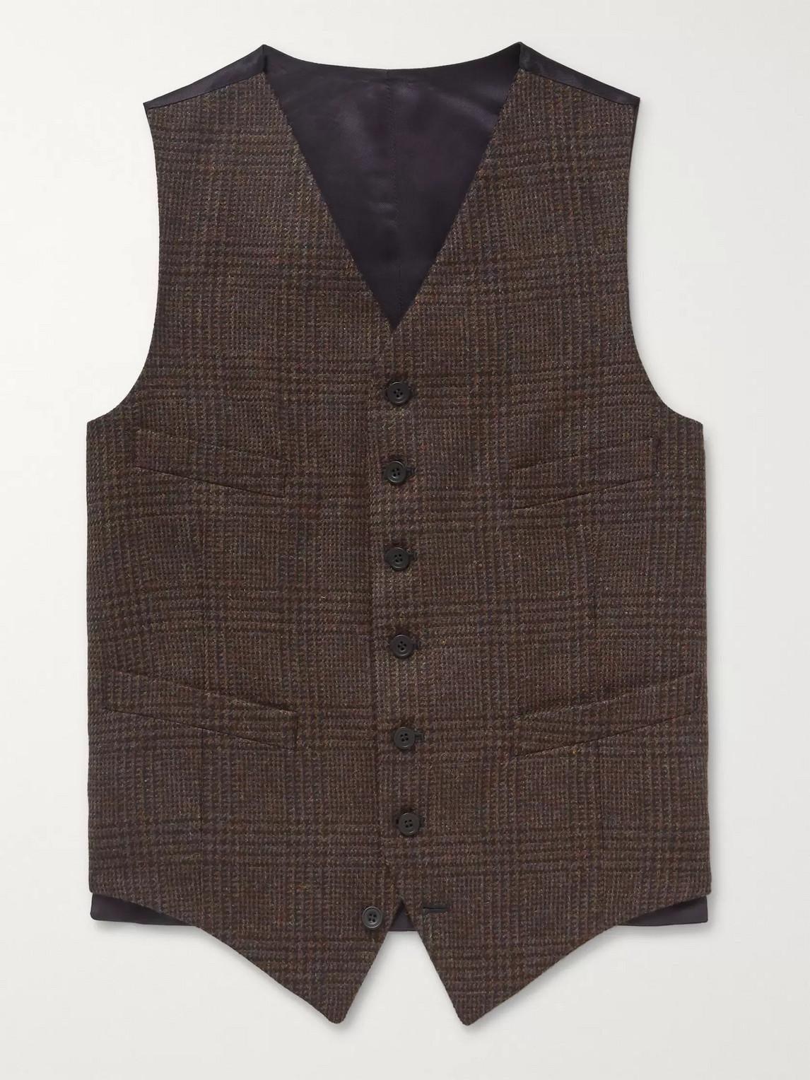 Kingsman Oxford Slim-fit Prince Of Wales Checked Wool Waistcoat In Brown