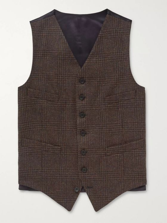 Kingsman Oxford Slim-Fit Prince of Wales Checked Wool Waistcoat