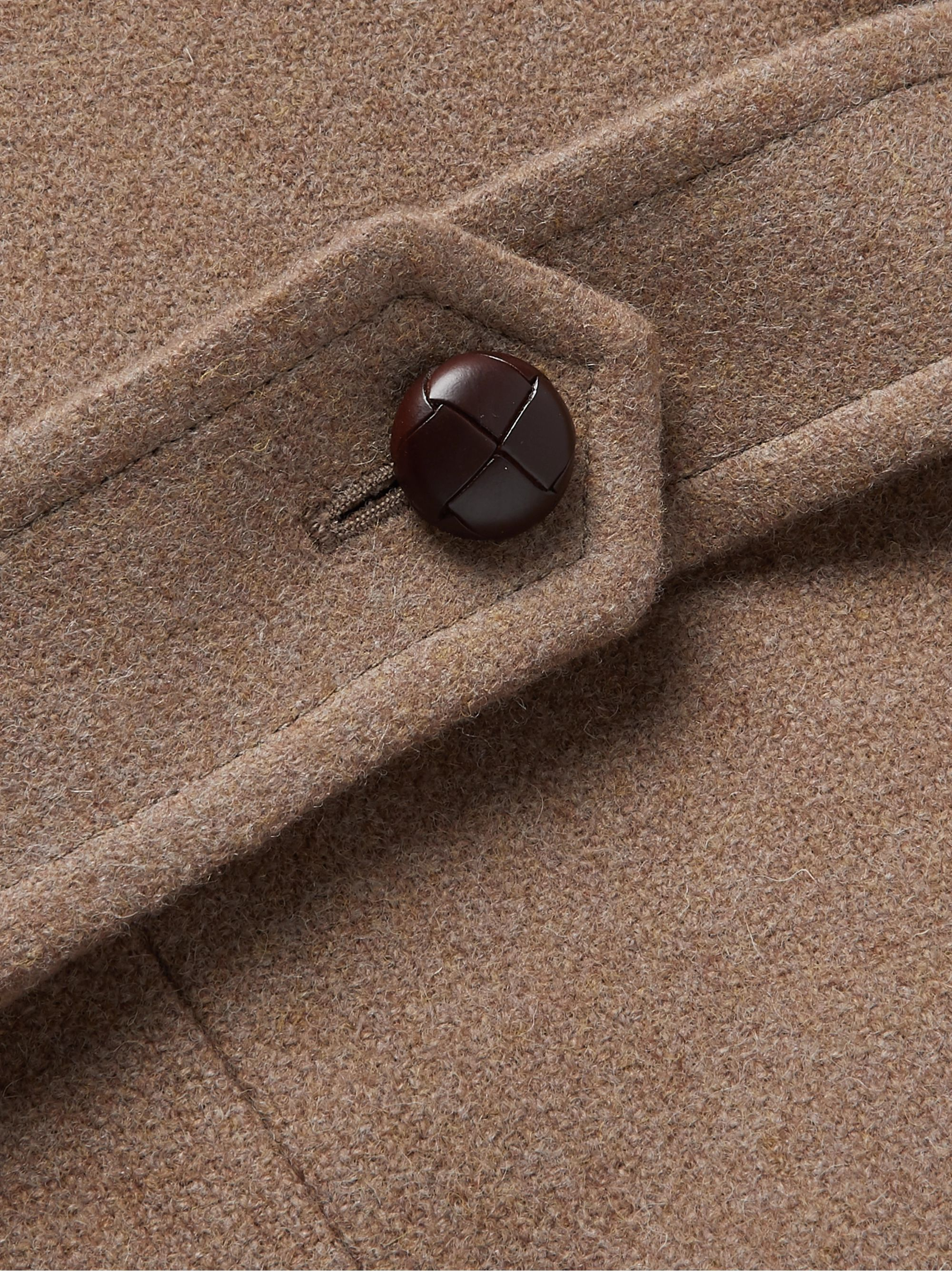 Kingsman Conrad Double-Breasted Shearling-Trimmed Wool Coat