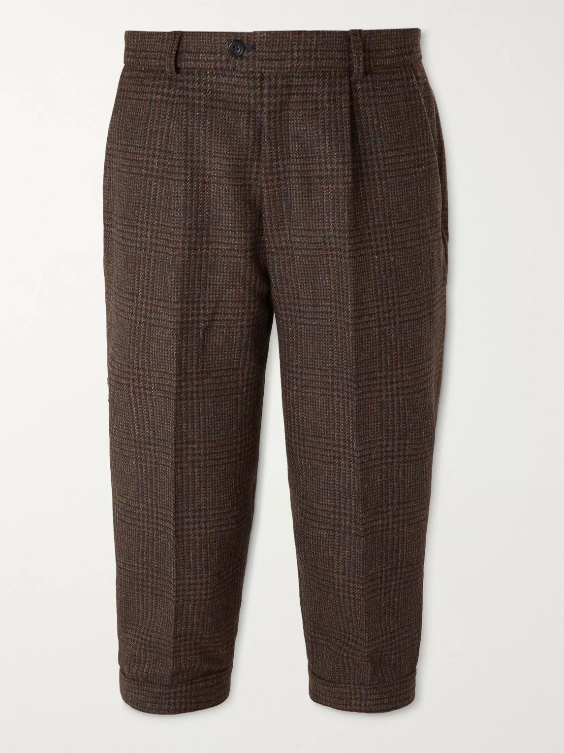 Kingsman Oxford Cropped Tapered Prince Of Wales Checked Wool Suit Trousers In Brown