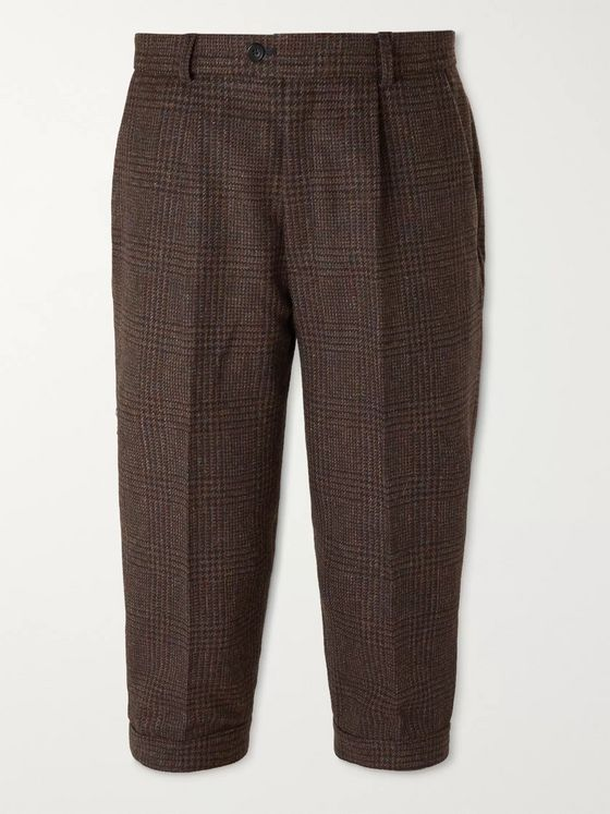 KINGSMAN Oxford Cropped Tapered Prince of Wales Checked Wool Suit Trousers