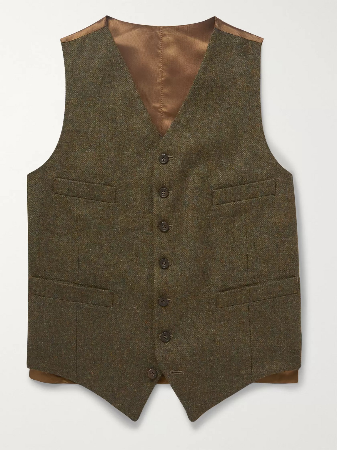 Kingsman Oxford Slim-fit Prince Of Wales Checked Wool Waistcoat In Green