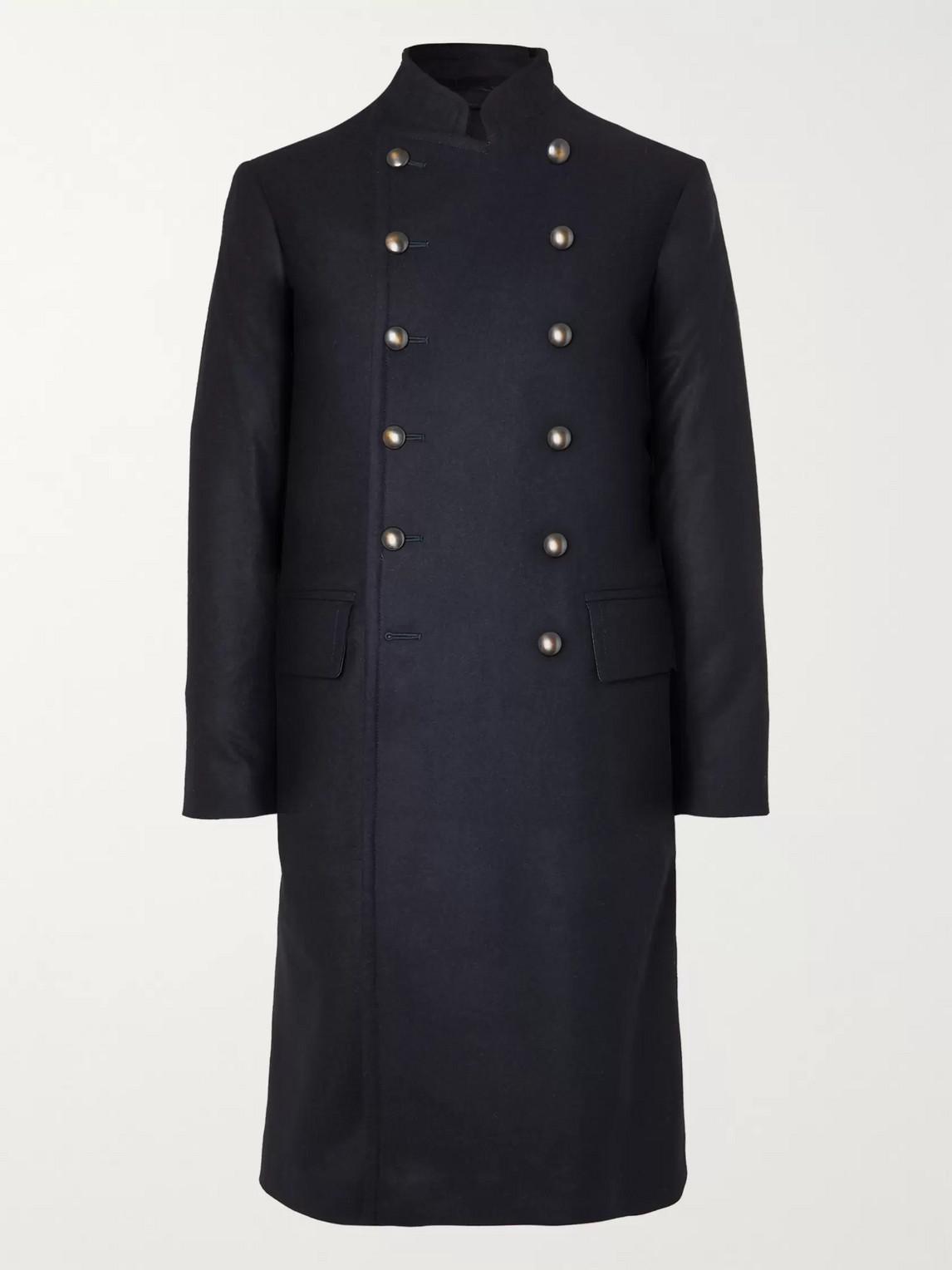 Kingsman Shola Slim-fit Wool And Alpaca-blend Coat In Blue