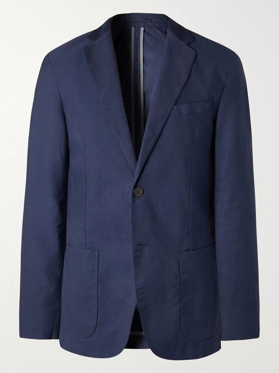 Mr P. Navy Unstructured Cotton and Linen-Blend Twill Suit Jacket