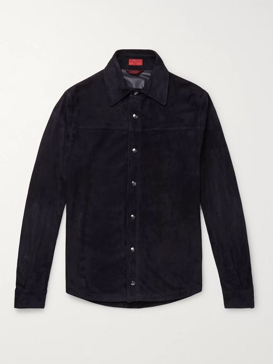 Isaia Slim-Fit Suede Shirt Jacket