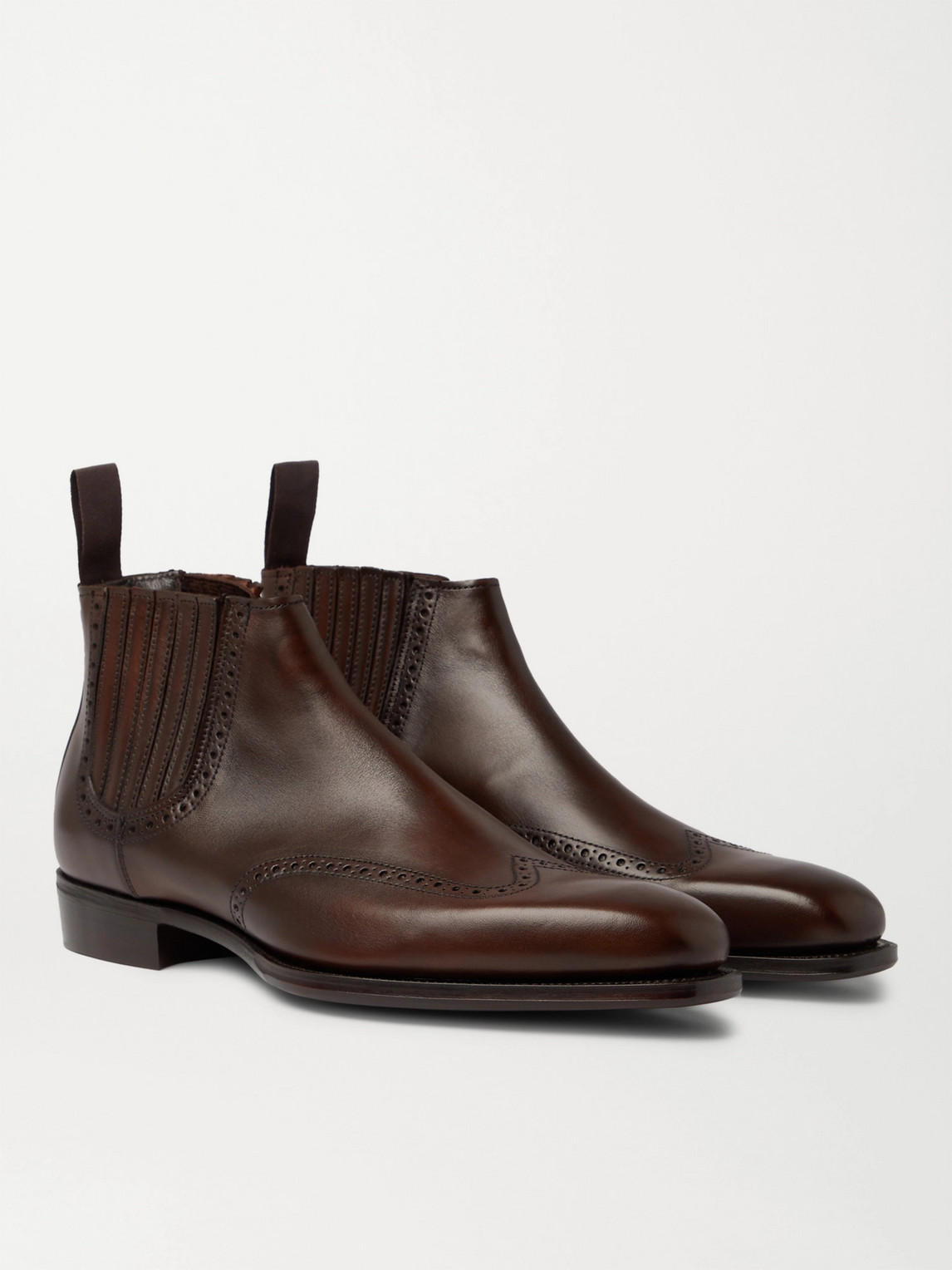 Kingsman George Cleverley Veronique Leather Brogue Chelsea Boots In Brown
