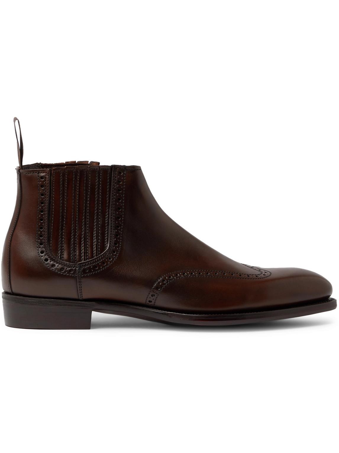 Kingsman - George Cleverley Veronique Leather Brogue Chelsea Boots - Men - Brown - Uk 7