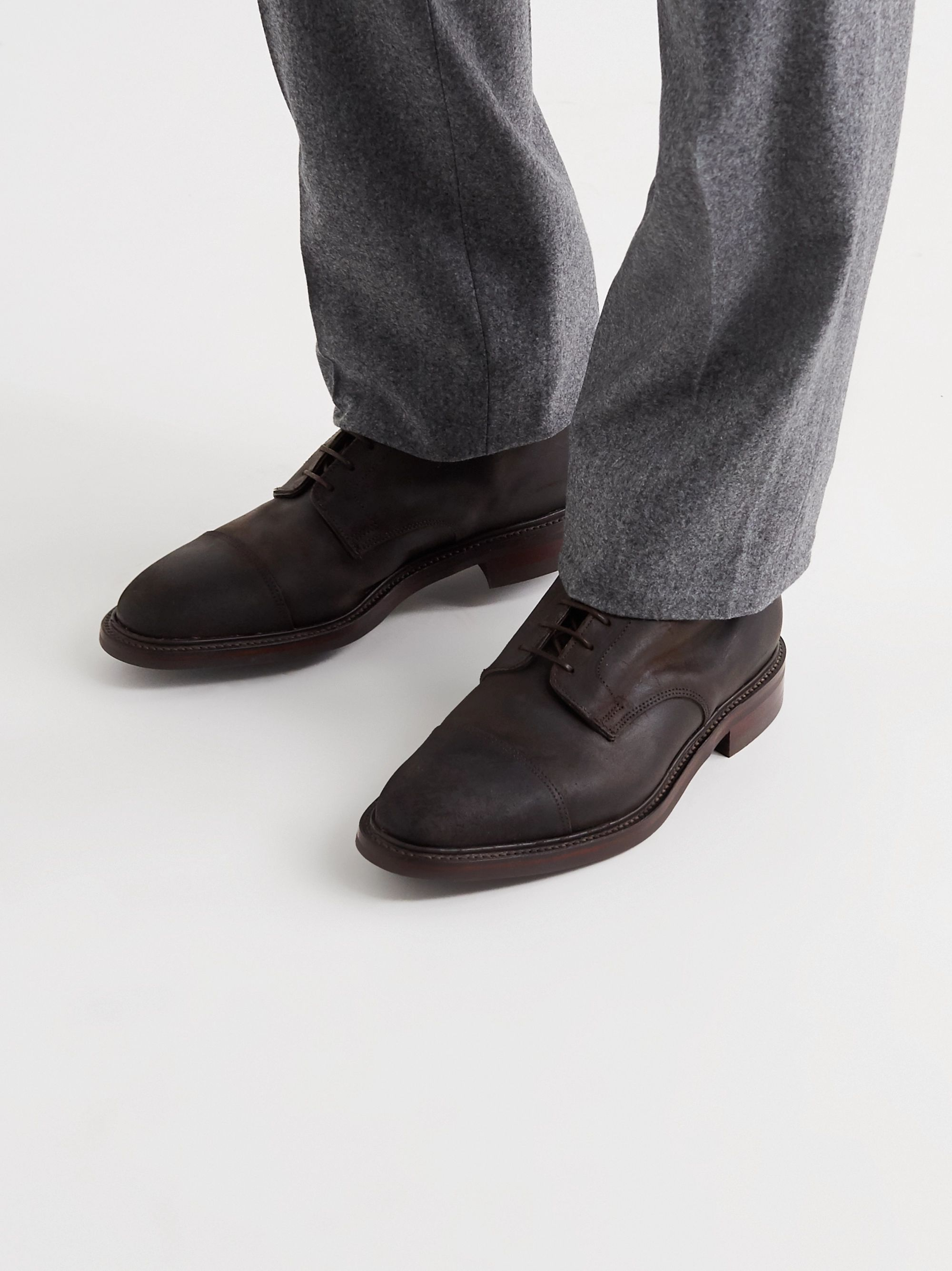 Kingsman + George Cleverley Taron Cap-Toe Roughout Leather Boots