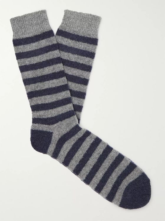 Howlin' Cosmonaut Striped Stretch Merino Wool-Blend Socks