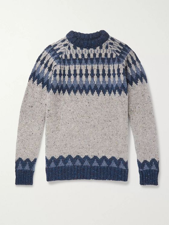 Howlin' Before the Snowfall Fair Isle Mélange Wool Sweater