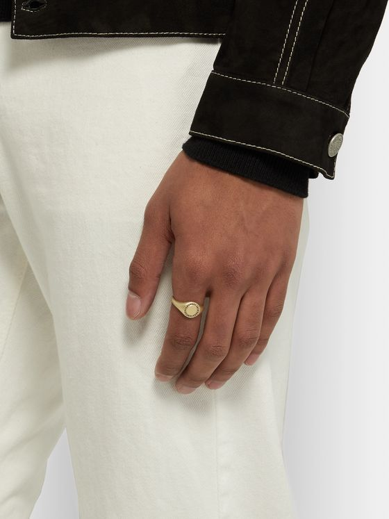 MIANSAI Halo Matte 14-Karat Gold Diamond Signet Ring