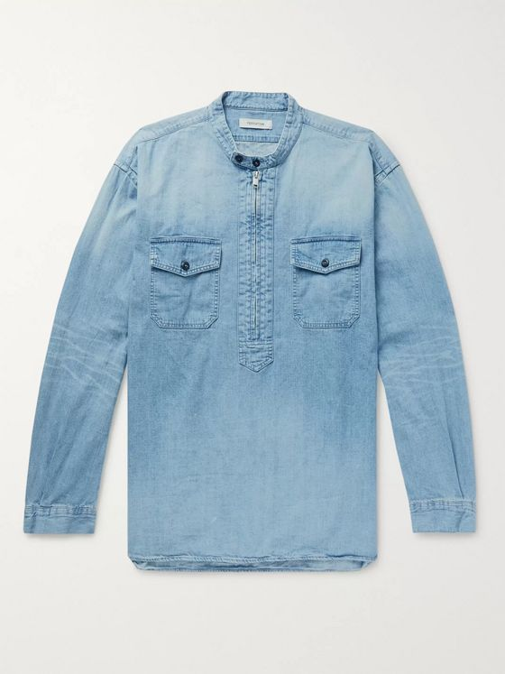 nonnative Grandad-Collar Denim Half-Zip Shirt