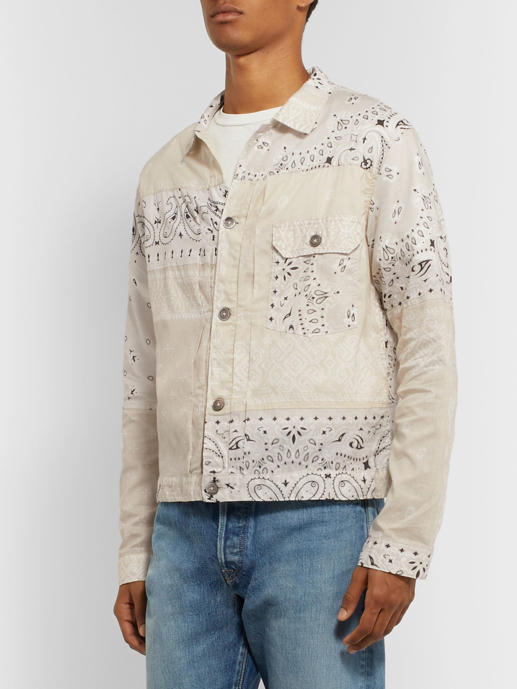 KAPITAL Patchwork Bandana-Print Cotton Trucker Jacket