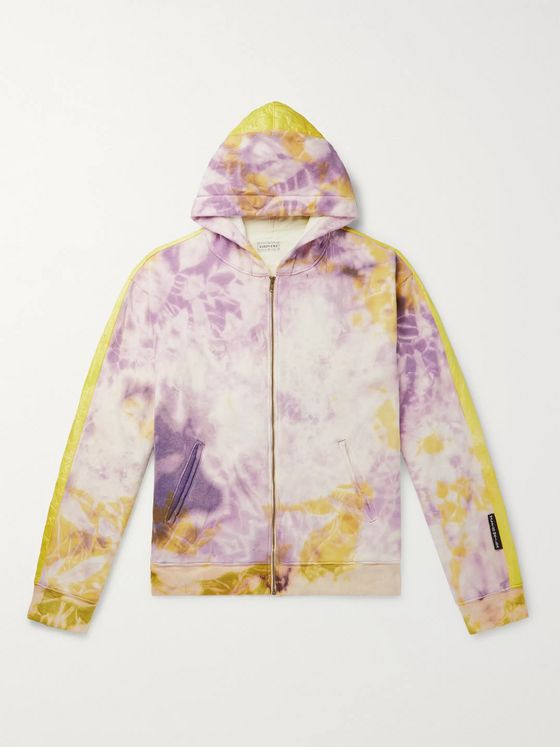 KAPITAL Ashbury Shell-Panelled Tie-Dyed Loopback Cotton-Jersey Zip-Up Hoodie