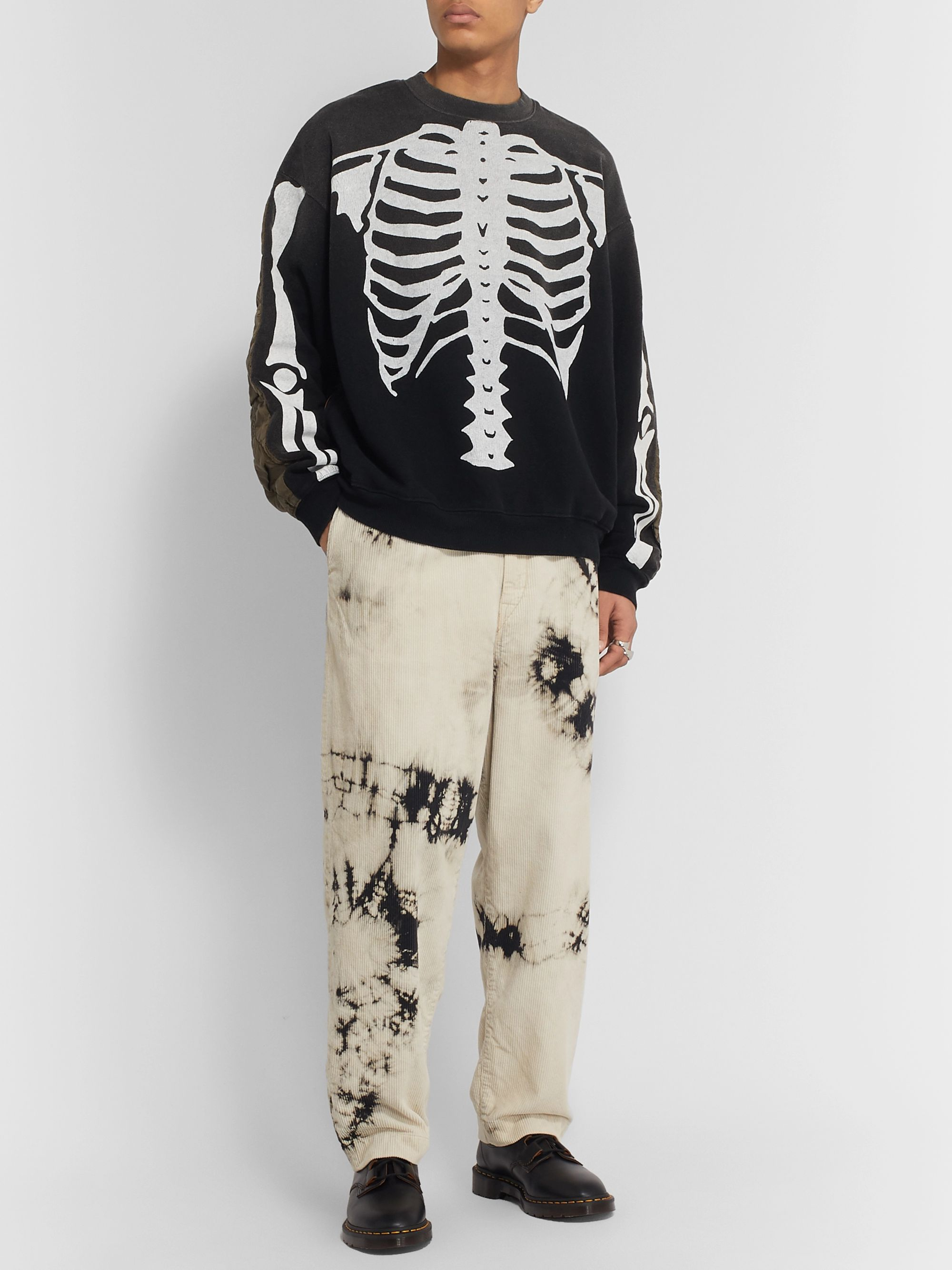 KAPITAL Printed Cotton-Jersey and Quilted Satin Sweatshirt