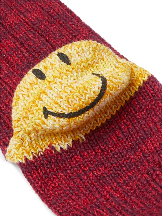 KAPITAL Smiley Cotton and Hemp-Blend Socks