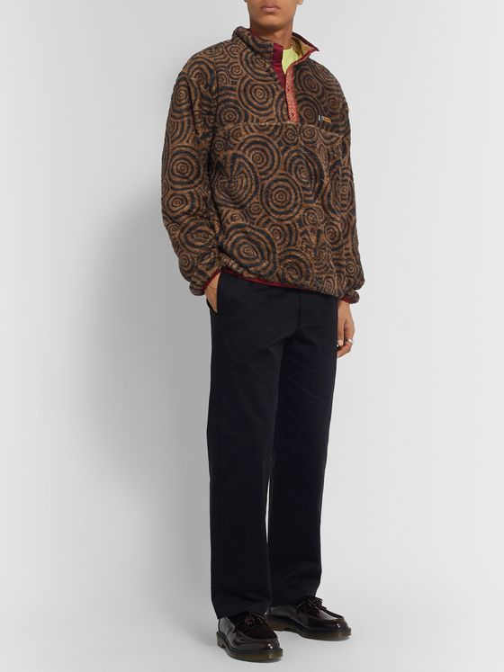 KAPITAL Printed Cotton-Fleece Half-Placket Jacket