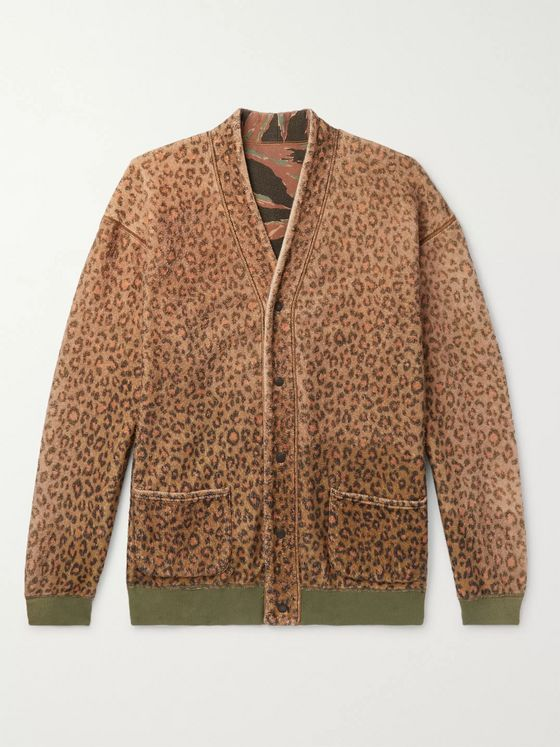 KAPITAL Reversible Printed Brushed-Fleece and Cotton-Jersey Cardigan