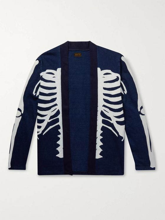 KAPITAL Kakashi Printed Cotton-Jersey Cardigan