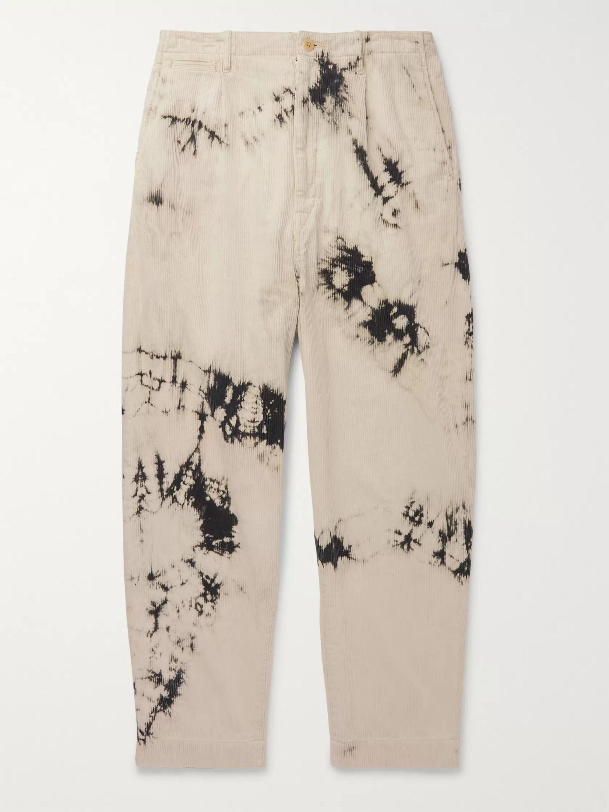 Ashbury Wide Leg Tie Dyed Cotton Corduroy Trousers by Kapital