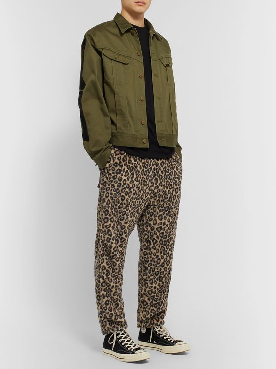 KAPITAL Leopard-Print Fleece Drawstring Trousers