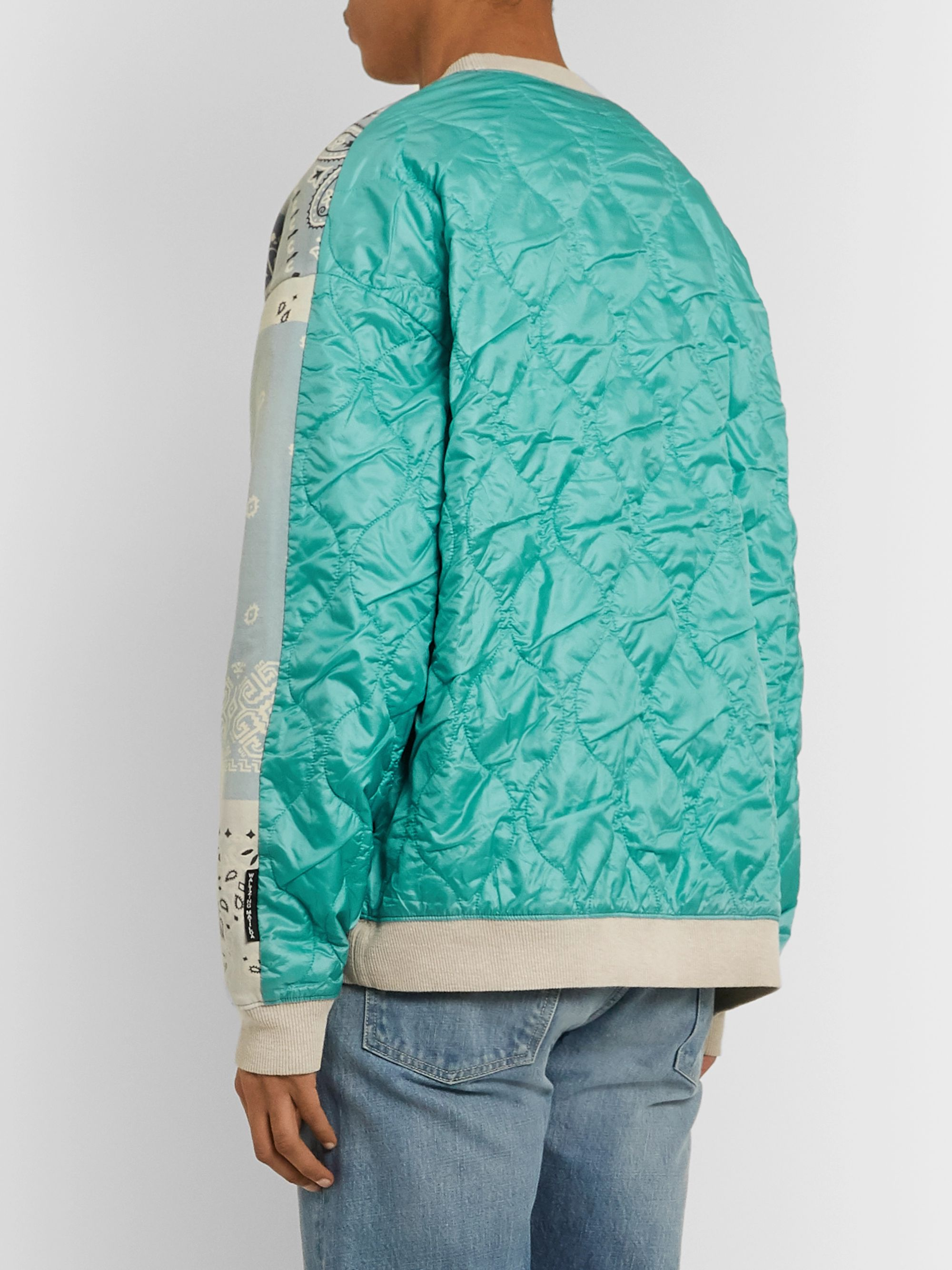 KAPITAL Oversized Patchwork Bandana-Print Cotton-Jersey and Quilted Satin Sweatshirt