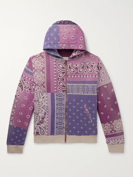 KAPITAL Patchwork Bandana-Print Cotton-Jersey and Quilted Satin Hoodie