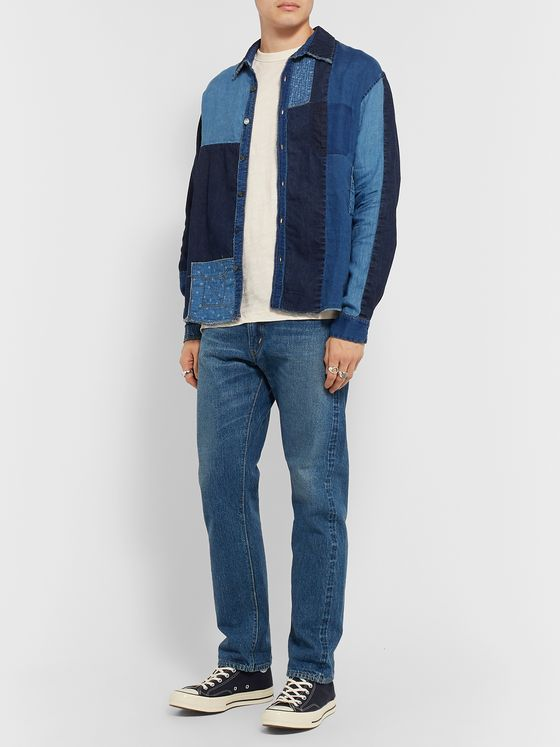 KAPITAL Distressed Patchwork Linen and Cotton-Blend Chambray Shirt