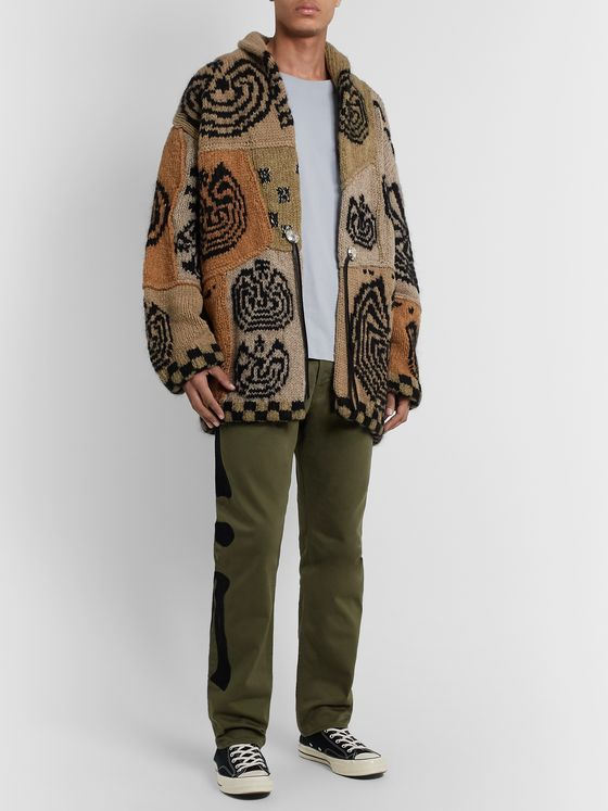 KAPITAL Shawl-Collar Leather-Trimmed Intarsia Wool-Blend Cardigan