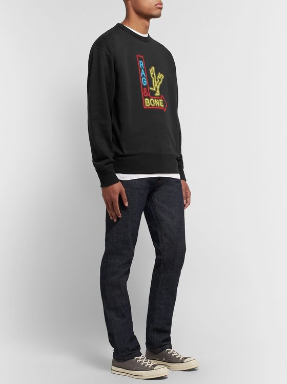 rag & bone Printed Fleece-Back Cotton-Blend Jersey Sweatshirt