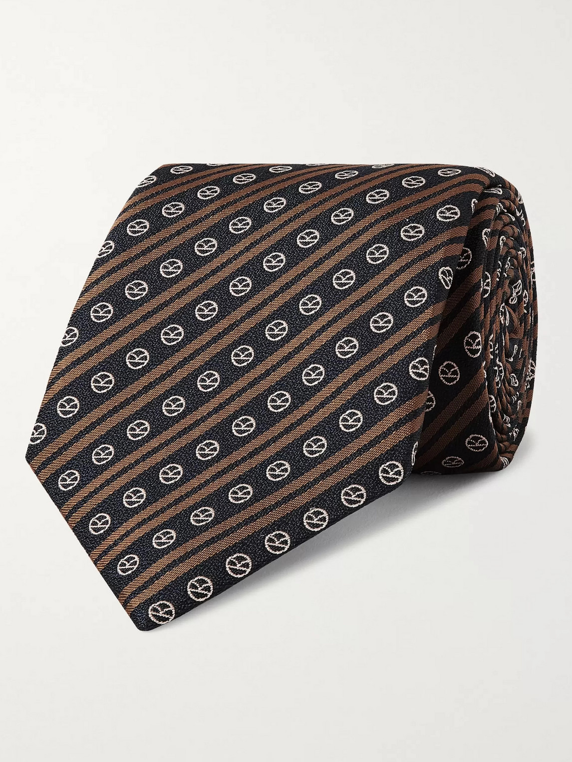 Kingsman Drake's 8cm Logo-embroidered Striped Silk Tie In Blue