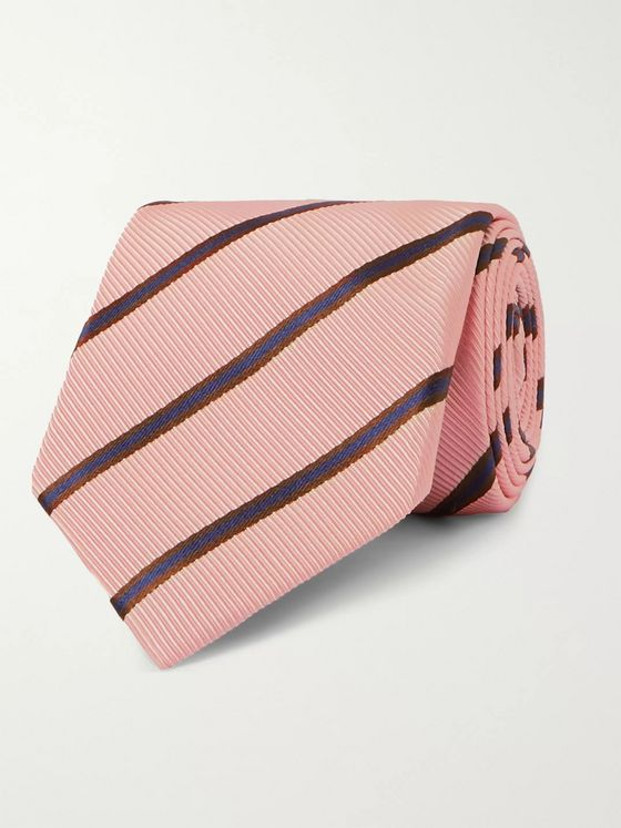 KINGSMAN + Drake's 8cm Striped Silk and Cotton-Blend Tie