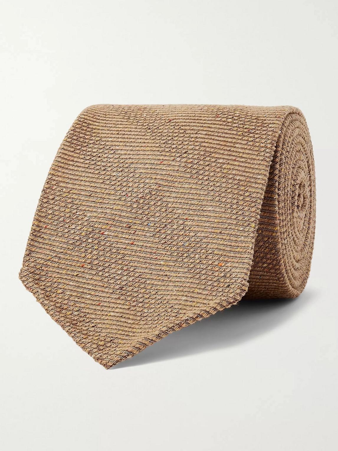 Kingsman Drake's 8cm Striped Mélange Textured-silk Tie In Brown