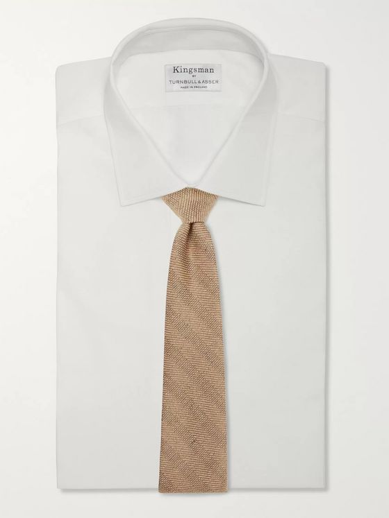 Kingsman + Drake's 8cm Striped Mélange Textured-Silk Tie