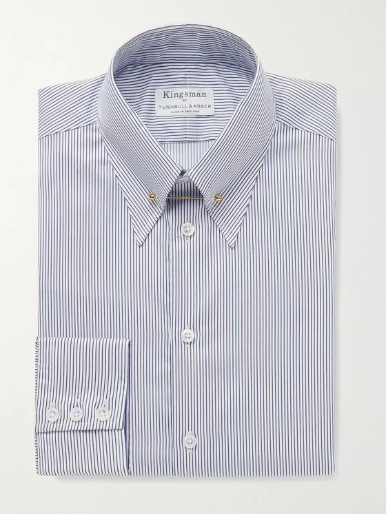 Kingsman + Turnbull & Asser Slim-Fit Pinned-Collar Striped Cotton Shirt
