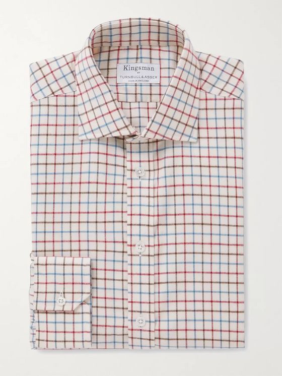 KINGSMAN + Turnbull & Asser Slim-Fit Cutaway-Collar Checked Cotton-Flannel Shirt