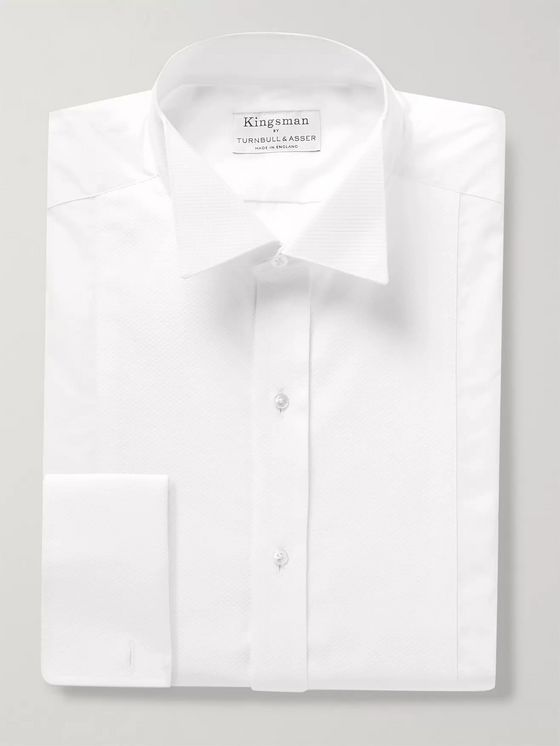 Kingsman + Turnbull & Asser Wing-Collar Piqué-Panelled Cotton Shirt