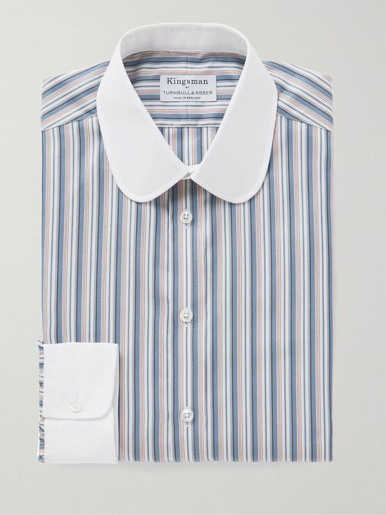 Kingsman + Turnbull & Asser Slim-Fit Penny-Collar Striped Herringbone Cotton Shirt