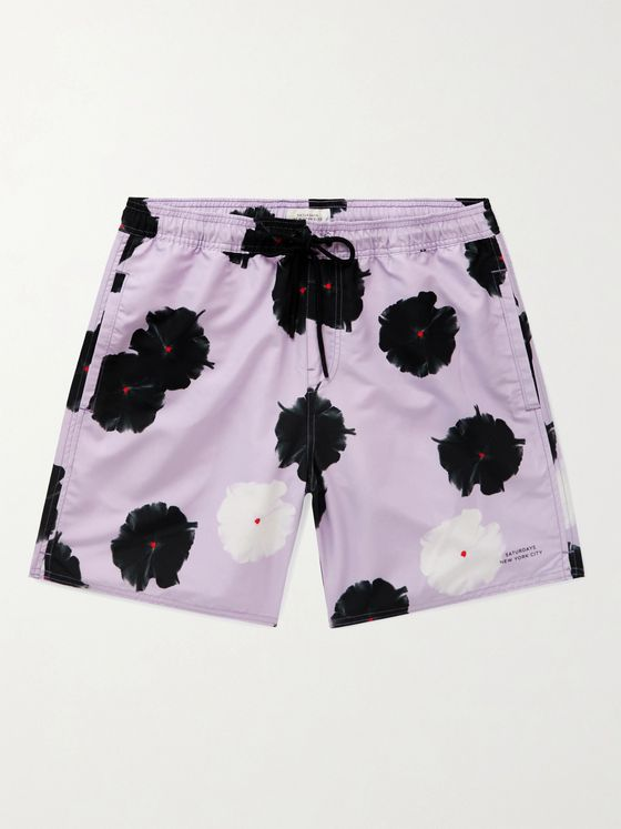 Saturdays NYC Timothy Mid-Length Floral-Print Swim Shorts