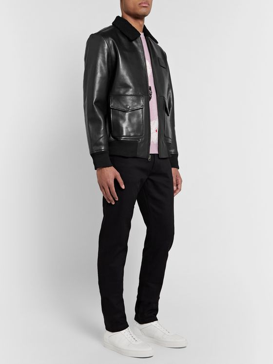 Saturdays NYC Tunstall Shearling-Trimmed Leather Jacket