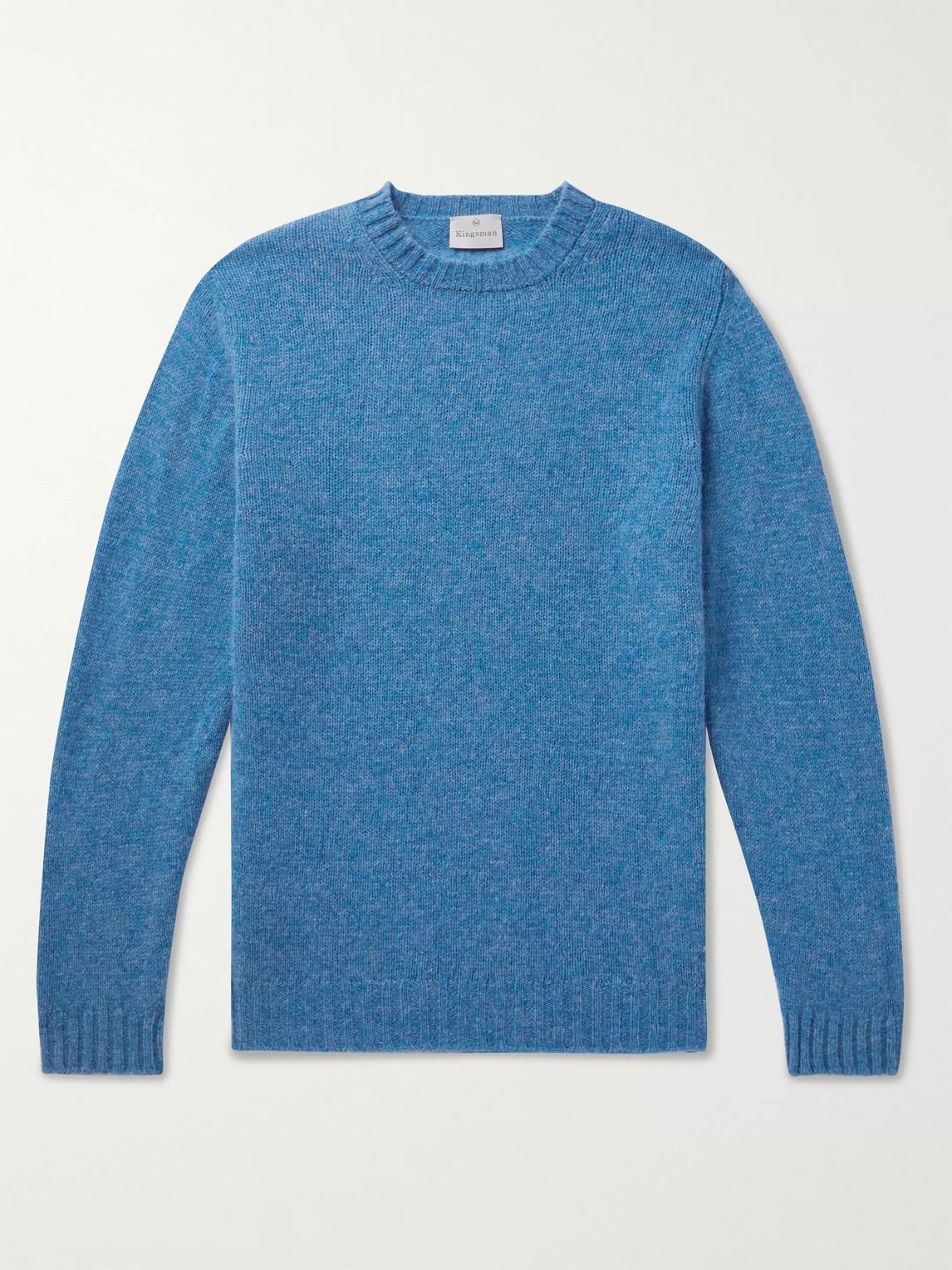 Kingsman Shetland Wool Sweater In Blue