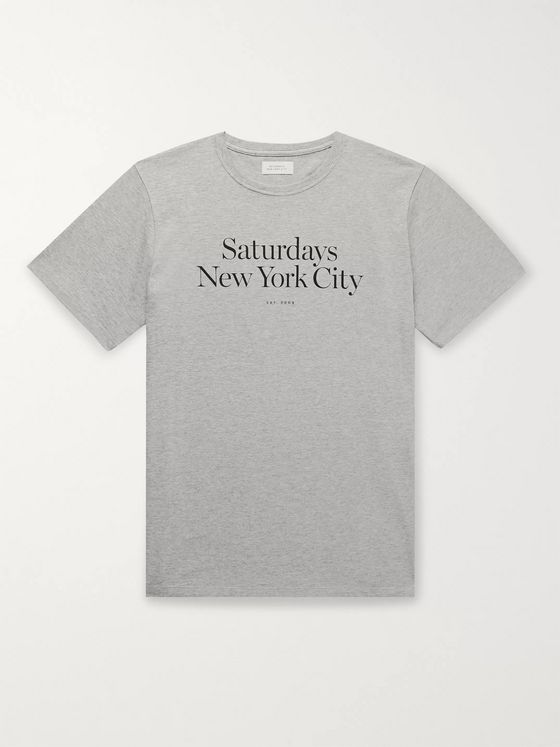 Saturdays NYC Miller Logo-Print Mélange Cotton-Jersey T-Shirt