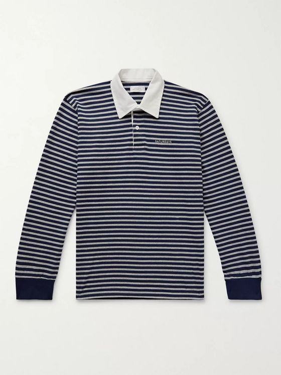 Saturdays NYC Sanders Twill-Trimmed Logo-Embroidered Striped Cotton Polo Shirt