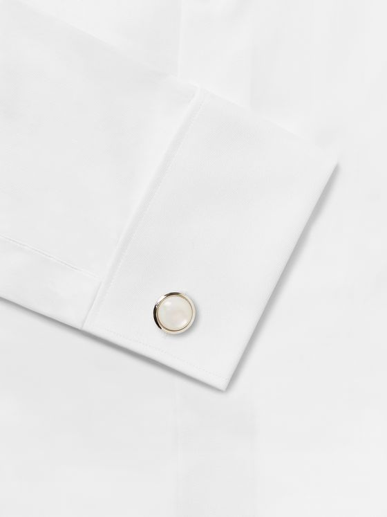 Kingsman + Turnbull & Asser Silver-Tone, Mother-of-Pearl and Onyx Shirt Studs