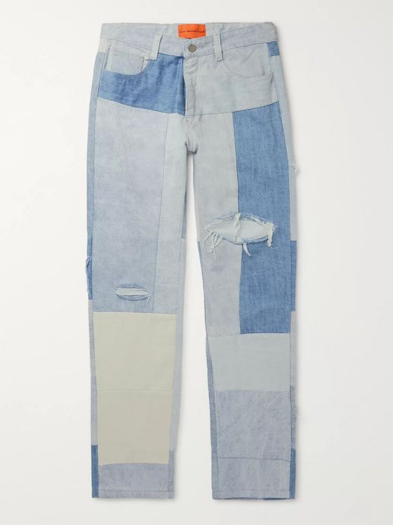WHO DECIDES WAR by Ev Bravado Distressed Patchwork Denim Jeans