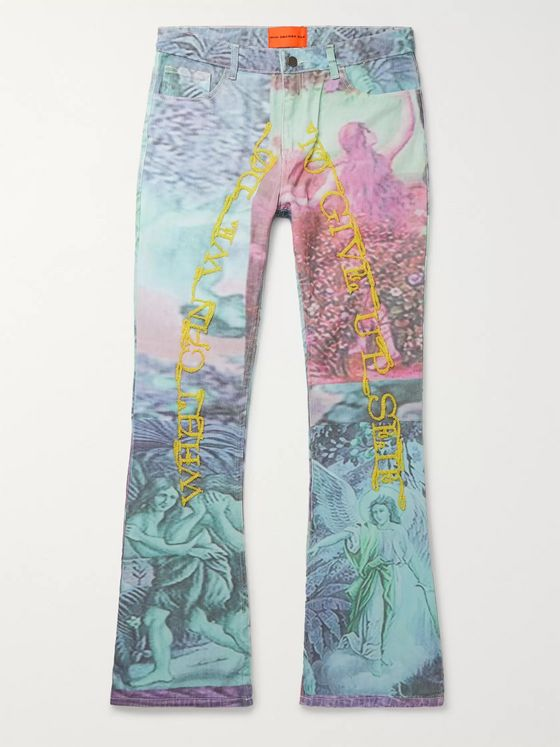 WHO DECIDES WAR by Ev Bravado Embellished Printed Denim Jeans